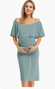 Miss Qee Green Off the Shoulder Maternity Dress